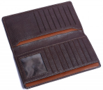Vintage Cowhide Leather Bifold Long Wallet