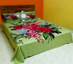 Green Banana Color Bed Cover with Flower Printed