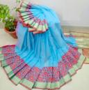 Half Silk Sky Blue Color Jamdani Saree PB-8447