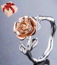 Rose Flower Finger Ring with Box