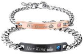 His Queen & Her King Gold Plated Couple Bracelet
