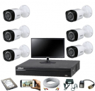 "CCTV Package Dahua 8 CH DVR 6 Pcs Camera 19"" Monitor"