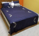 Double Size Blue printed Bed Sheet with 2 Pillow Covers