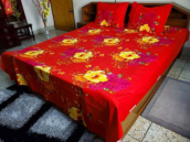 Flower Print Twill Cotton 1 Bed Sheet & 2 Pillow Cover