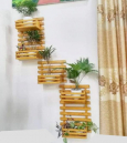 Grid Strip Wooden Wall Hanging Rack Shelf