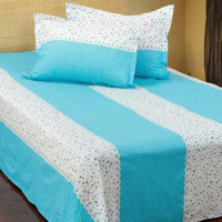 Sea Blue & White Ball Printed Double Size Bed Sheet