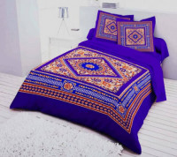 Multicolor Deshi Cotton King Size Panel Bed Sheet