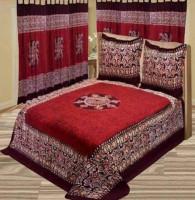 King Size Red Batik Printed Bed Sheet
