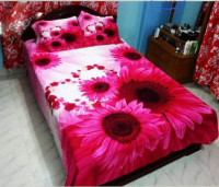 Sunflower Pink Color Printed Double Size Bed Sheet