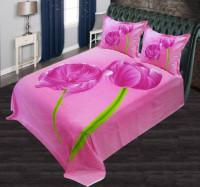 Pink Color Flower Printed Bed Sheet