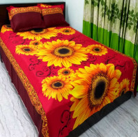 Red Color Printed Cotton Double Size Bed Cover