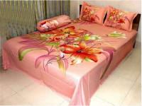 Light Pink Flower Design Bed Sheet