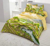 Village Nature View Printed Bed Cover