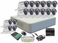 CCTV Package 16-CH XVR with 14-Pcs 2MP Hikvision Camera
