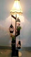 Corner Stand Hurricane Lamp with Shade
