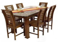 Dining Chair Table Set with Glass Top