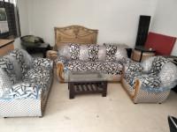 Saddam Kerosene Wood Sofa Set