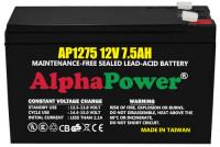 AlphaPower AP1275 12V 7.5AH UPS Battery