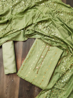 Semi Modal Zari Embroidery Dress