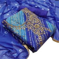 Bandhani Print Unstitched Blue Color Salwar Kameez