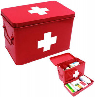 Metal First Aid Box with Basic Madical Supplies