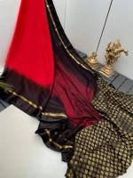 Jaipuri Chiffon Red Black Silk Saree