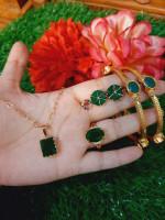 Indian Gold Plated Diamond Cut Jewelry Set