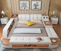 Leather Bed with Trendy Design