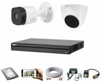 CCTV Package Dahua 4-CH Recorder 2 Camera 500GB HDD