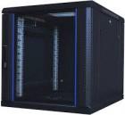Pushi 12U Front Glass Door Back Vented Black Server Rack