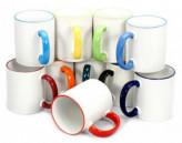 White Ceramic Sublimation Colored Rim 11 oz Coffee Mug