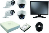 CCTV Package 4CH DVR 4 Piece Camera LED Monitor