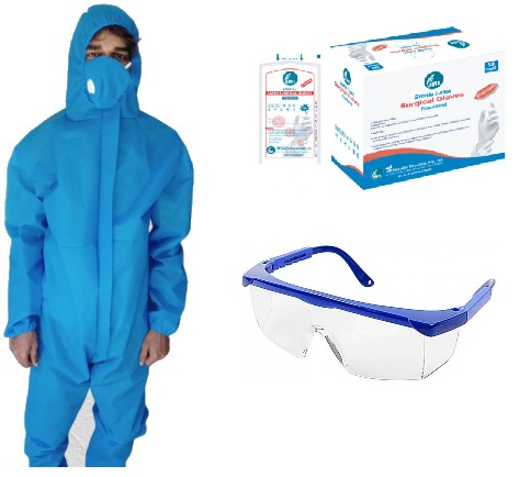 Washable PPE with Mask / Goggles and Hand Gloves