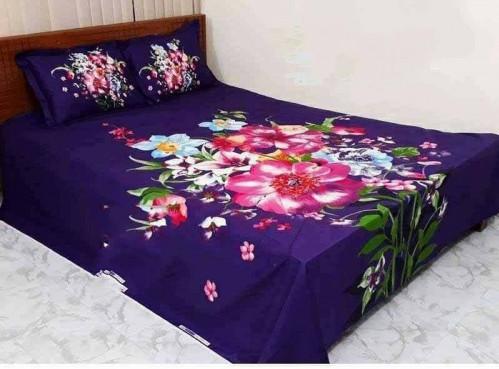 Double Size Blue Color Cotton Bed Sheet