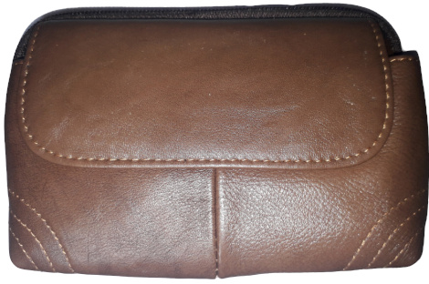 Two Zipper Genuine Leather Pouch Bag