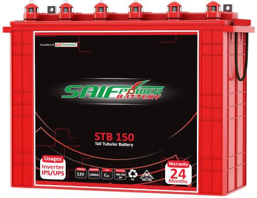 Saif Power STB-150 Tall Tubular Battery 12V