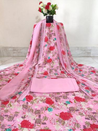 Rishika Silk Floral Motif Printed Three Piece