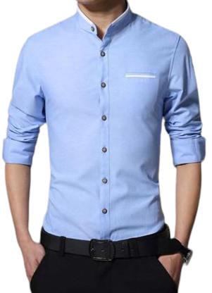 Light Blue Long Sleeve Casual Shirt for Men