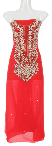 Indian Weightless Georgette One Piece Red Dress