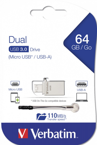 Verbatim 64GB Dual USB 3.0 Flash Drive