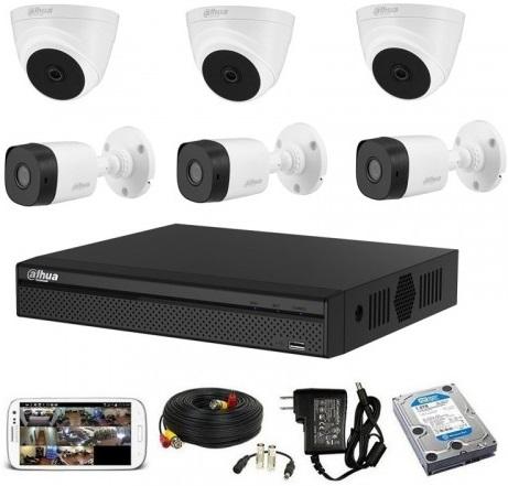 CCTV Package Dahua 8 Channel DVR 500GB HDD 6-Pcs Camera