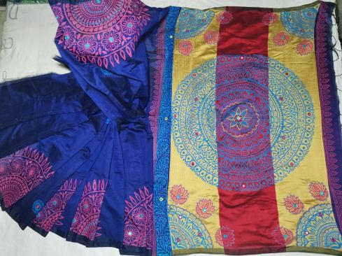 Dhupiyan Soft Blue Silk Saree