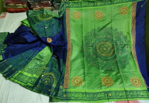 Dhupiyan Soft Green Silk Saree