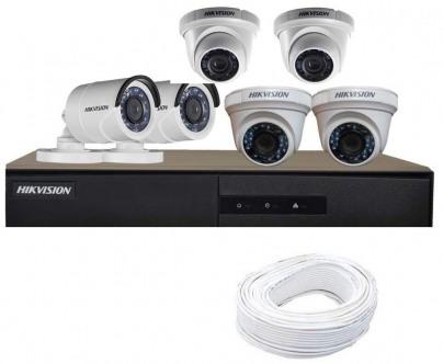 CCTV Package Hikvision 8-CH DVR 6-Pcs 2MP HD Camera