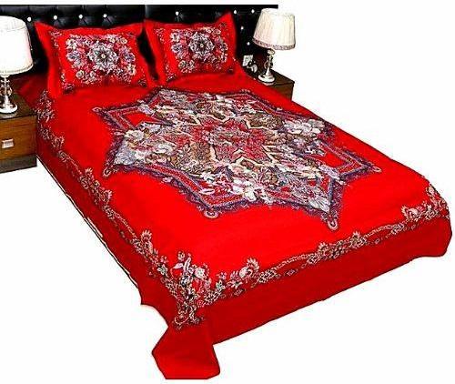 Multi Design Red Color Bed Sheet