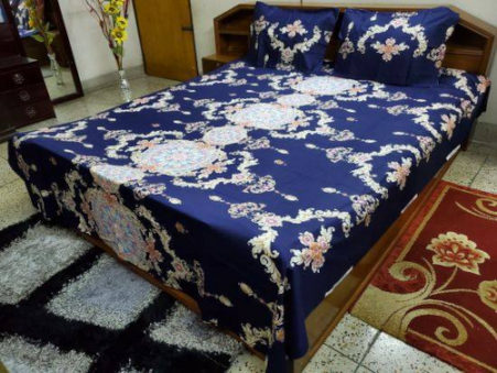 Twill Cotton Double Size Bed Sheet & Two Pillow Cover