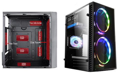 View One V165-22 Gaming Desktop Casing with RGB Fan