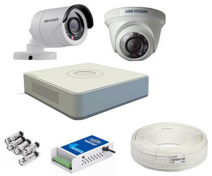 CCTV Package Hikvision 4-CH DVR 2-Pcs 2MP HD Camera