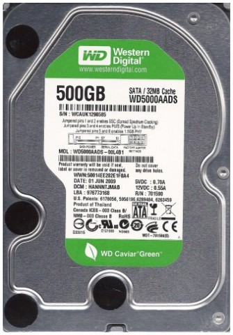 Western Digital Caviar Green WD5000AADS 500GB Internal HDD