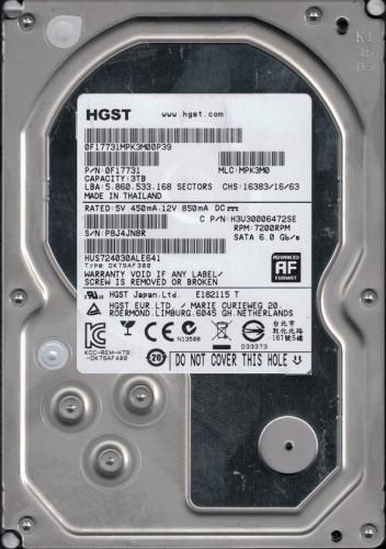 HGST WD30PU 3TB Surveillance Internal HDD